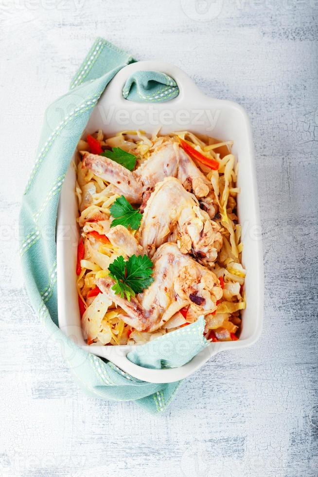 Braised cabbage with chicken photo