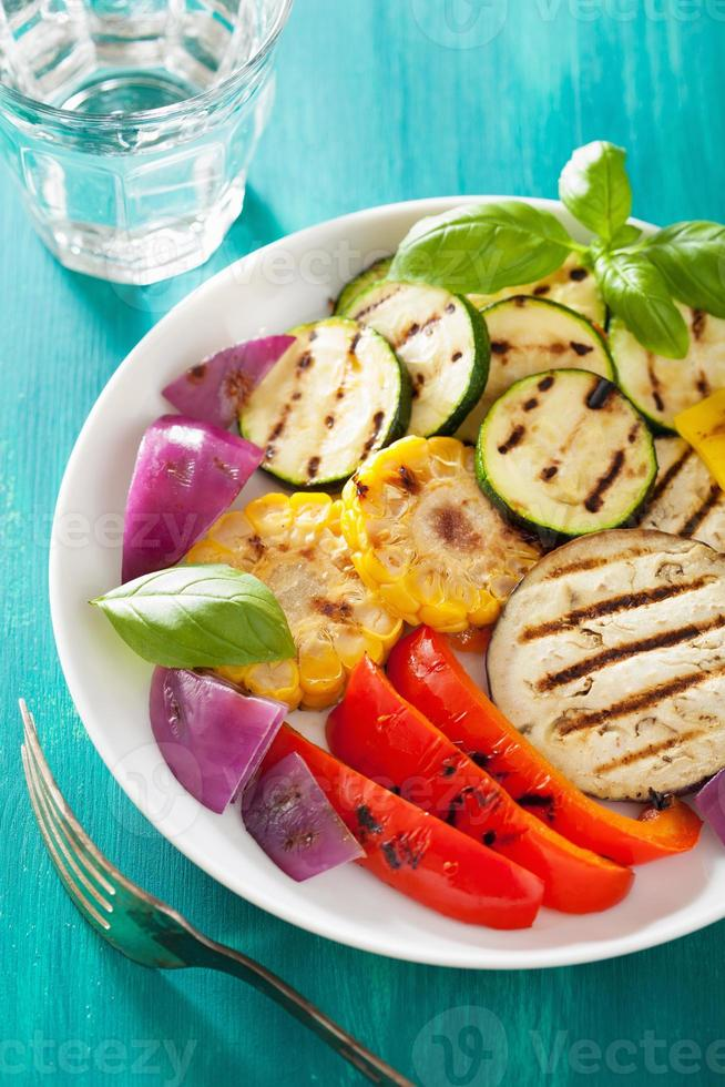 healthy grilled vegetables on plate photo