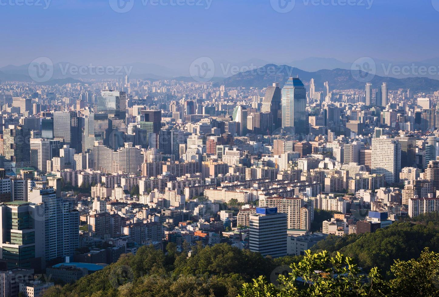 Seoul city and Downtown skyline in Sunset, South Korea photo