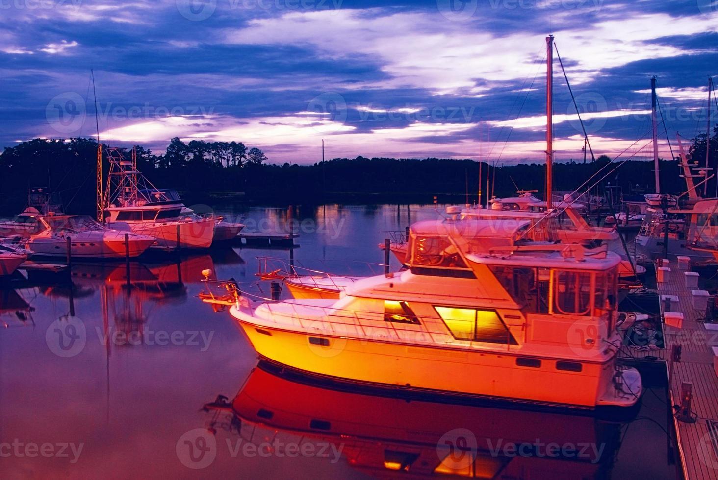 Boat Marina in Jacksonville Beach Florida at Sunset photo