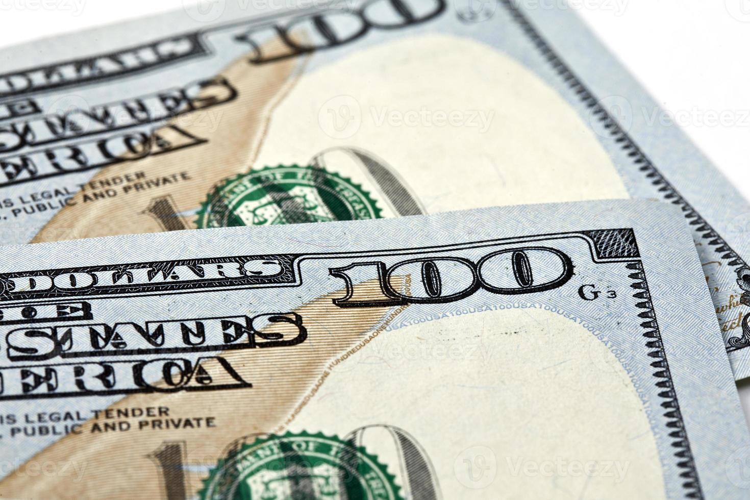 dinero americano, billetes de cien dólares foto
