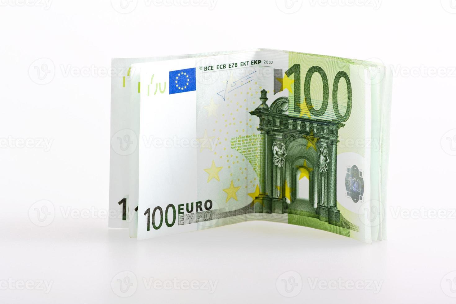 billetes de euro dinero cien aislado foto