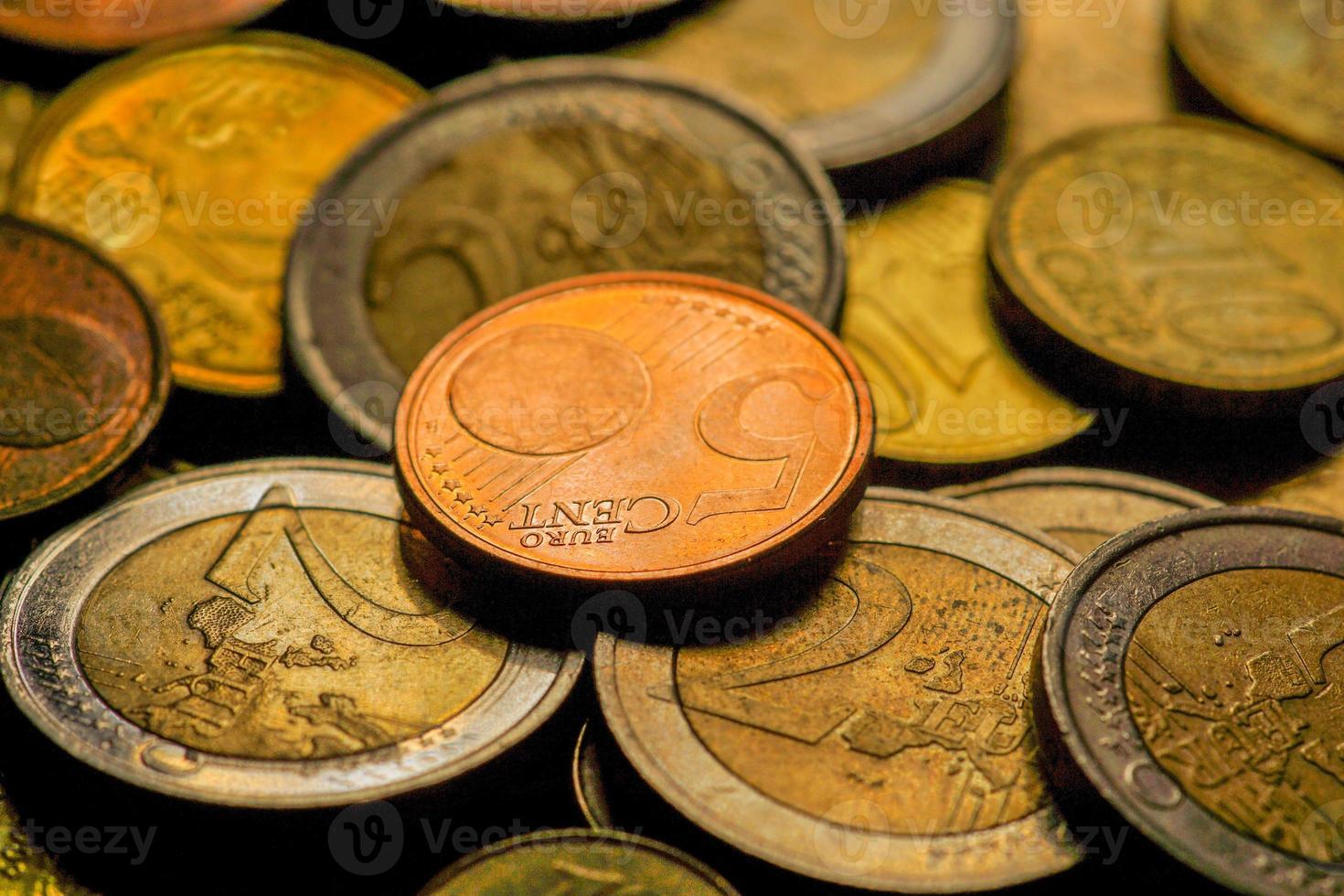 monedas de euro dinero. Fondo macro foto