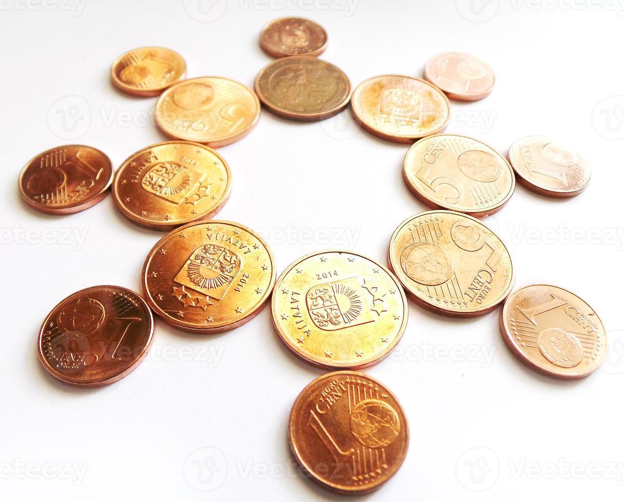 Money sun - copper Euro coins photo