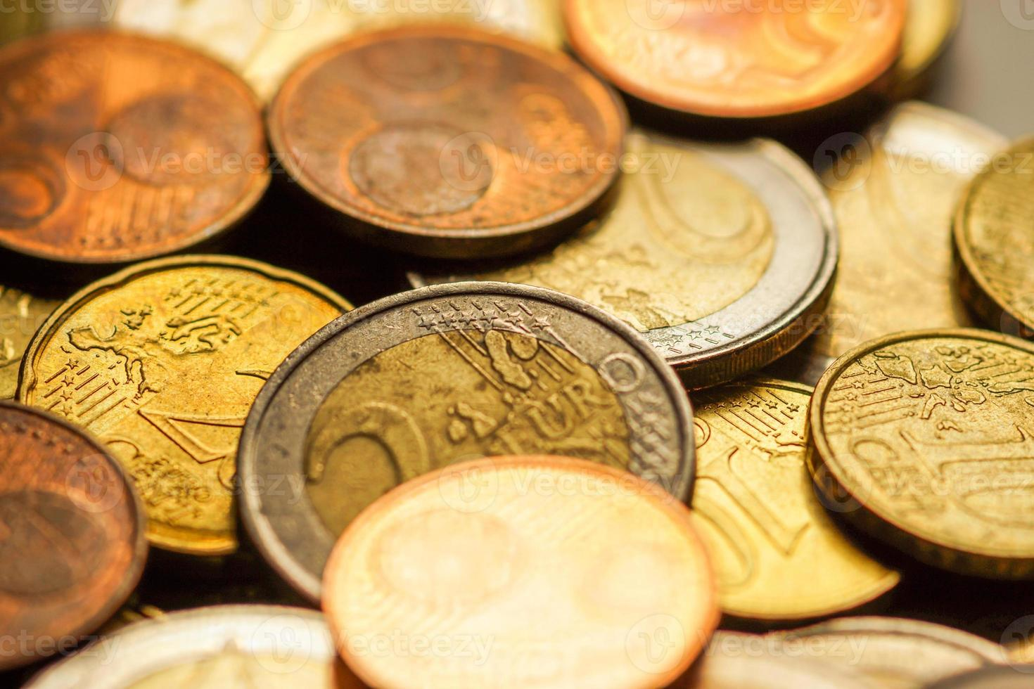 Euro coins money. Macro background. photo