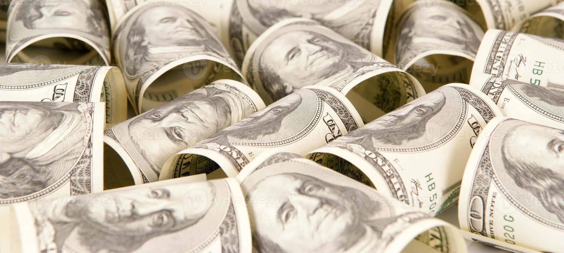 Hundred dollar bills money pile photo