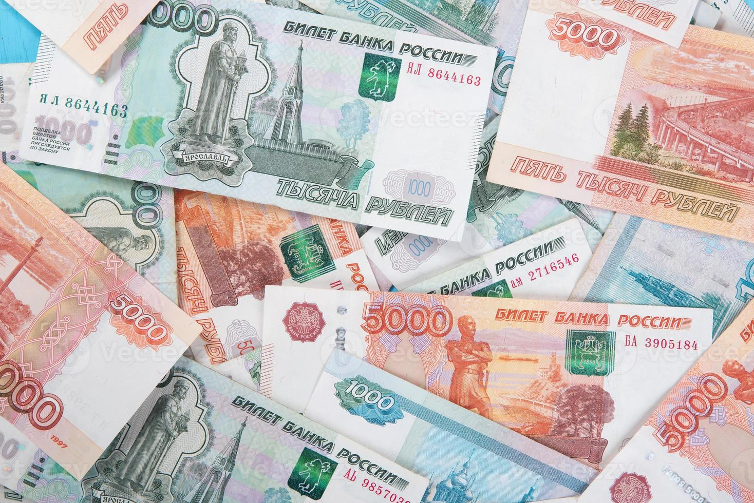 Russian money Rouble Banknotes background photo