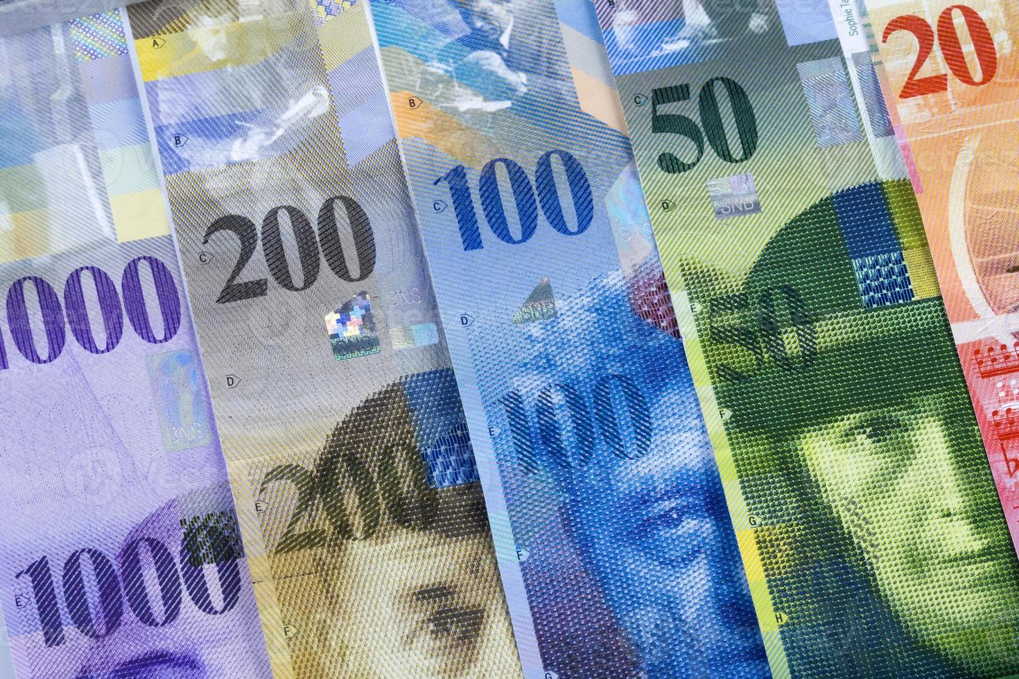 billetes de franco suizo foto