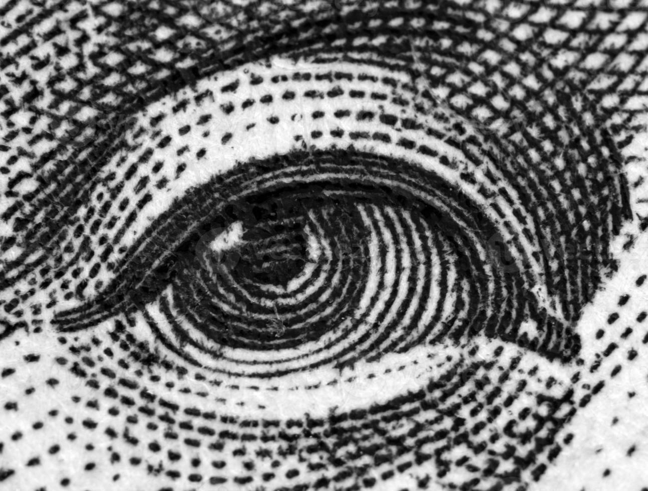 Black and white, Dollar USA, eye. Extreme closeup.Macro photo
