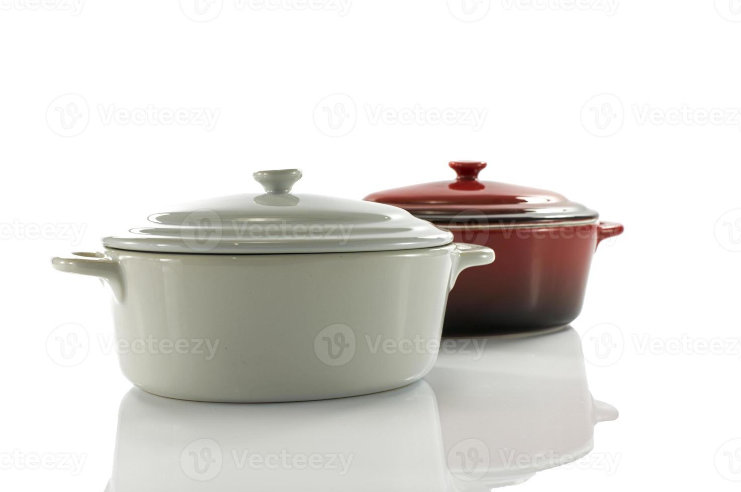 red and white saucepan photo