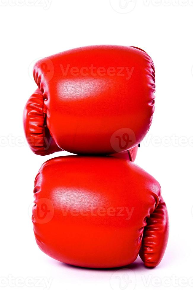 Pair of Boxing Gloves Red Leather Isolated on white background. photo
