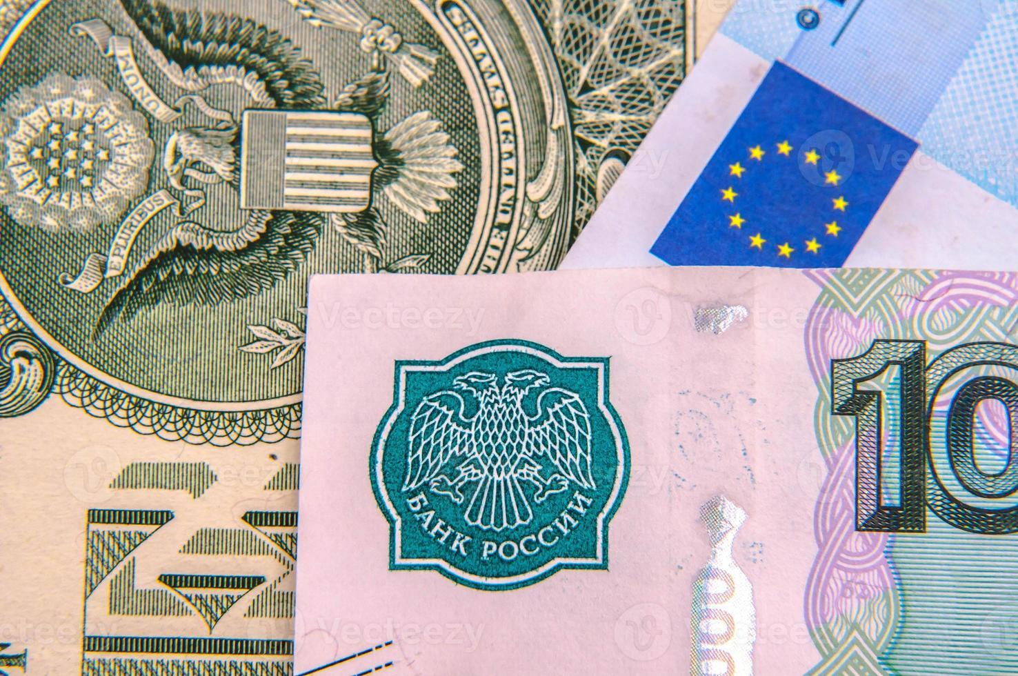 World money - Dollars, euros, russian roubles photo