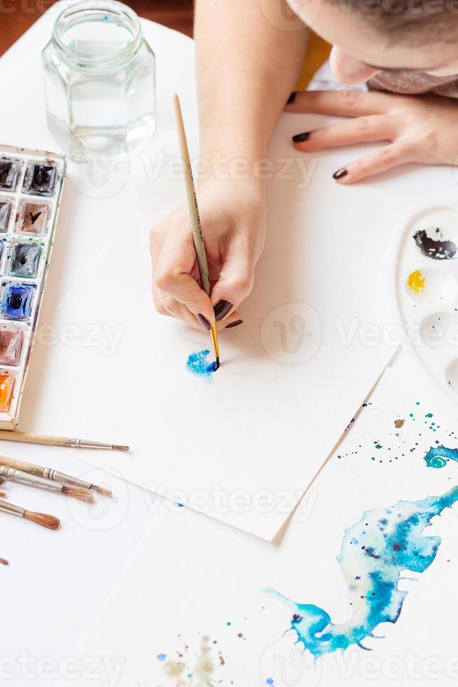 Watercolor drawing process photo
