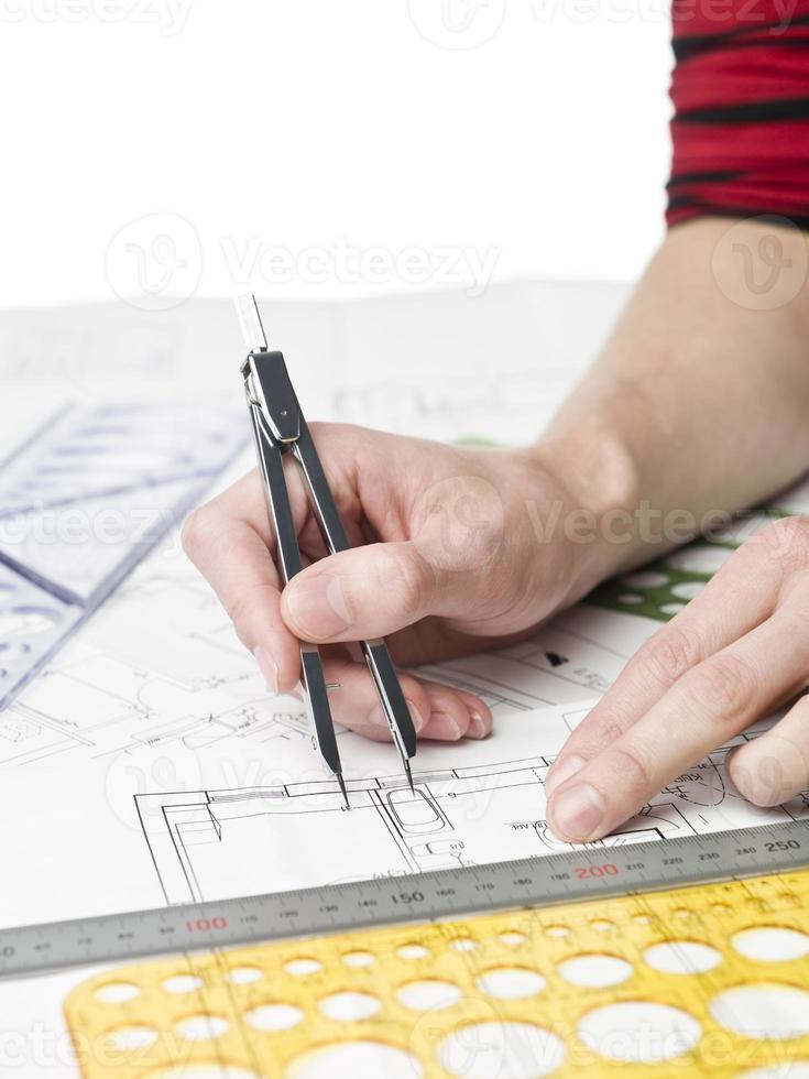 Architect working on a bluprint photo