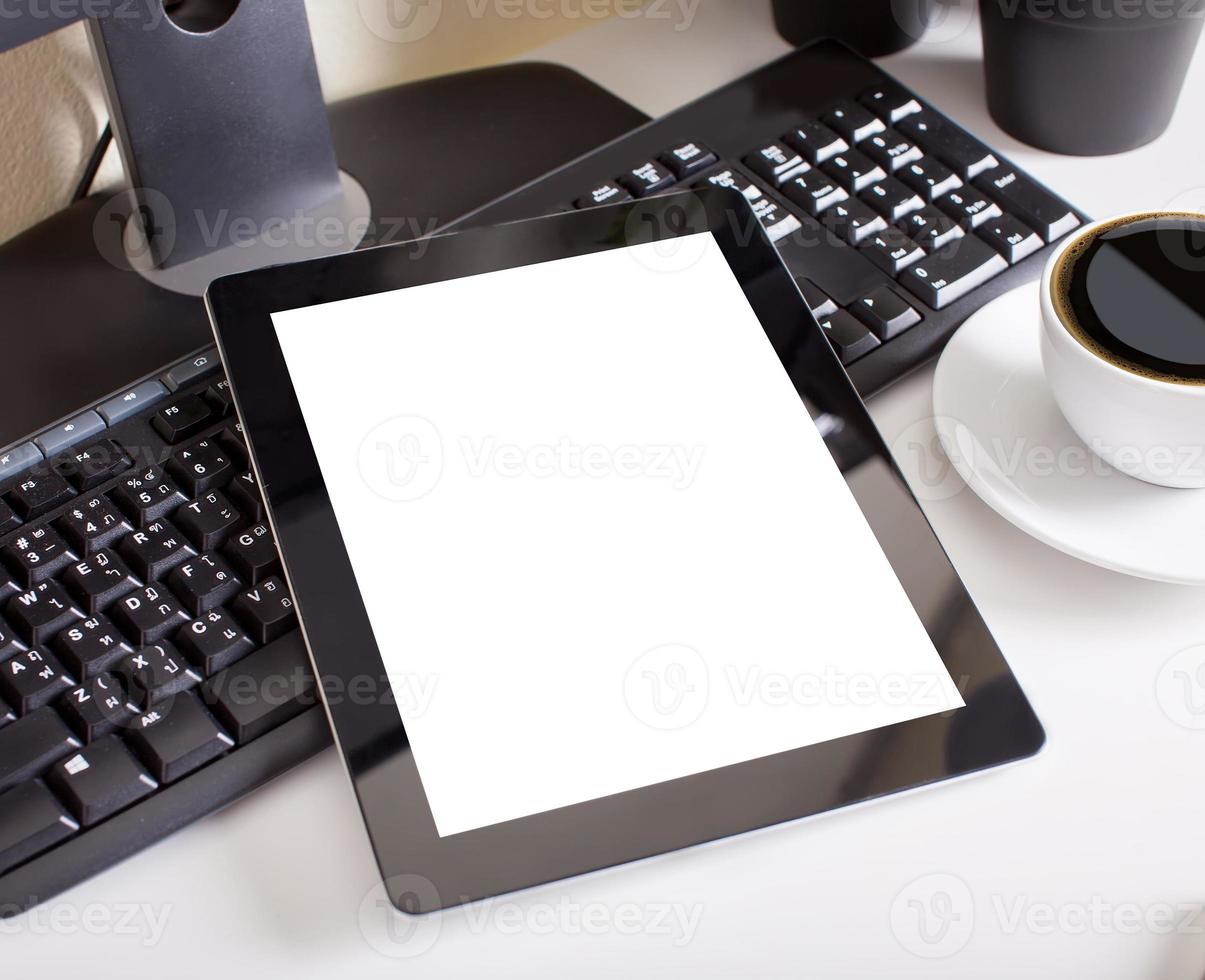 tablet touch pad computer gadget is in the office photo