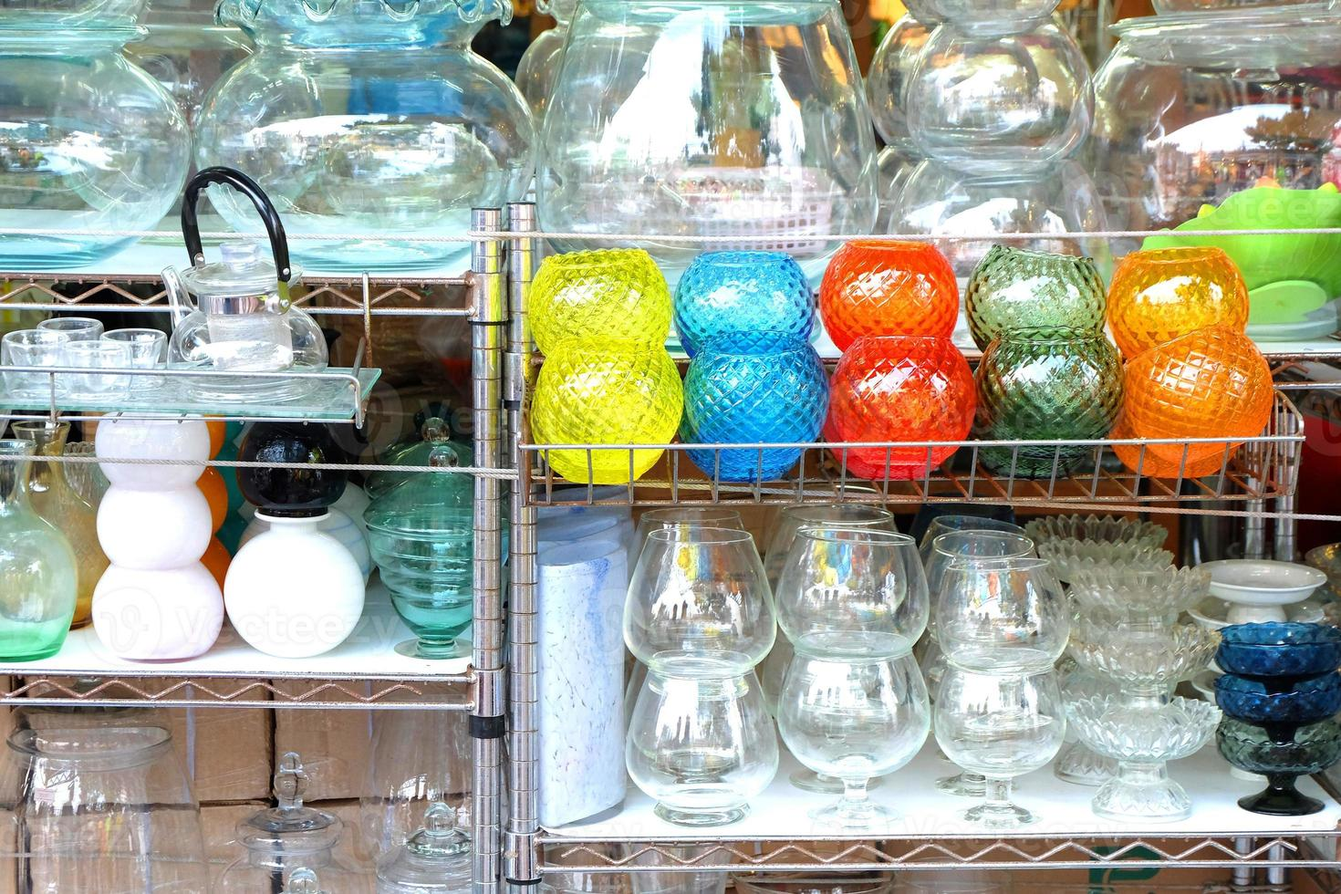 Colorful Vases / Decorations Shop in Weekend Outdoor Market photo