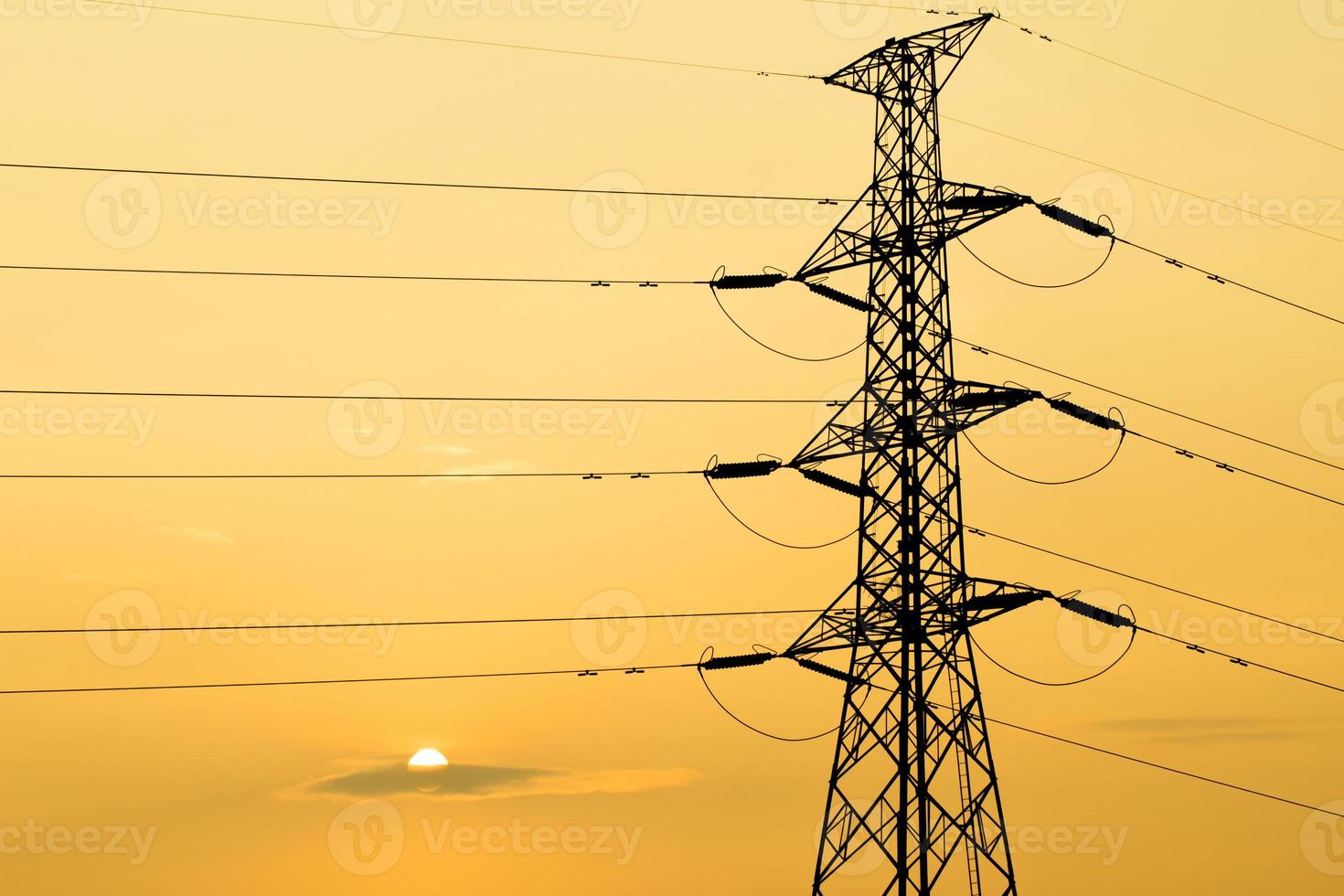 silhouette of high voltage electrical pole structure photo