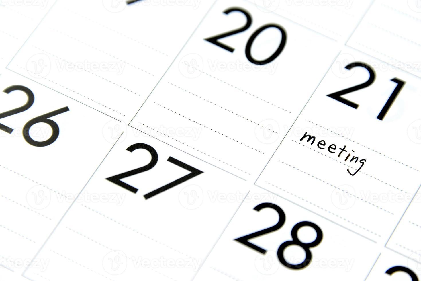 réunion d'affaires prévue photo