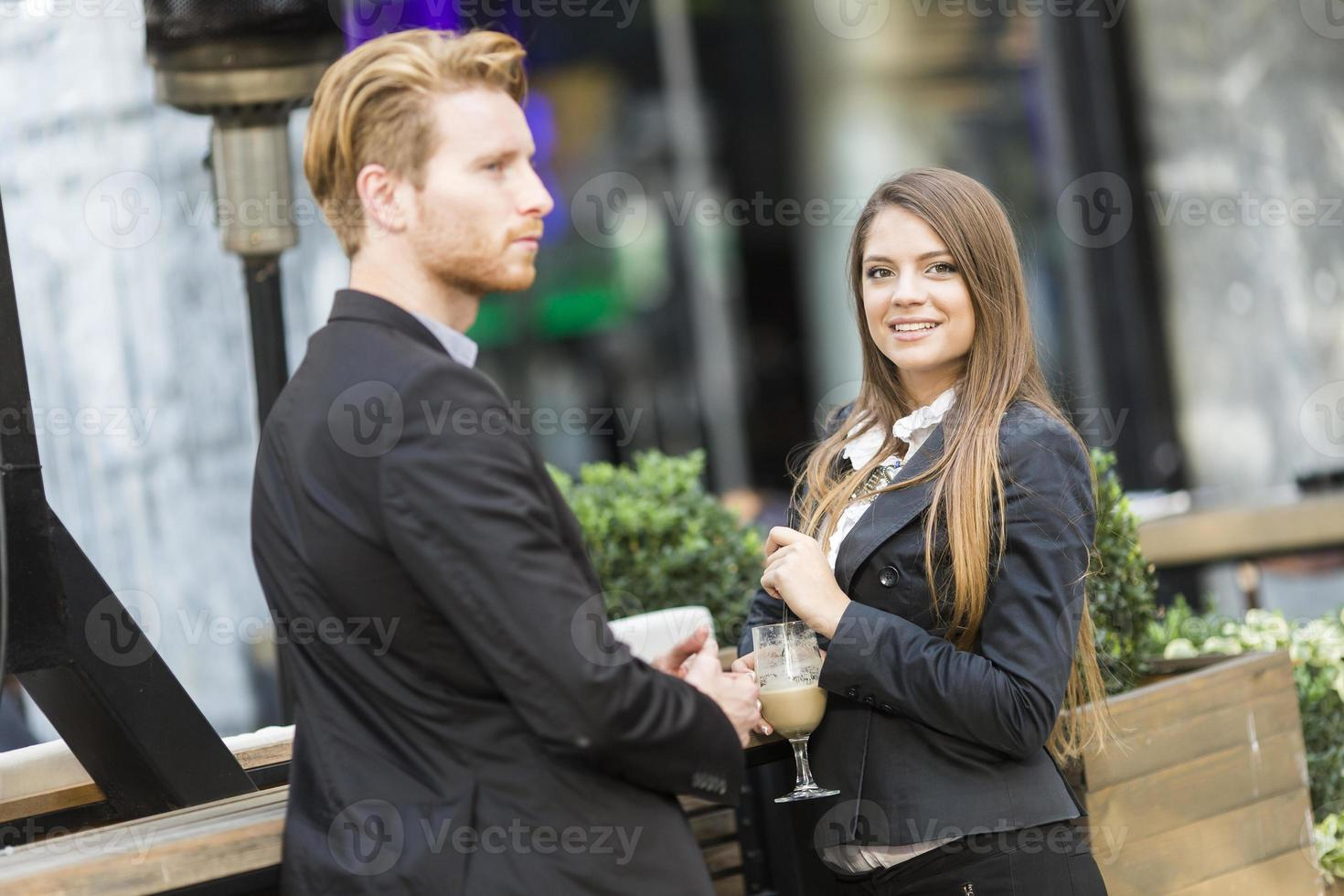 Business people drinking coffee photo