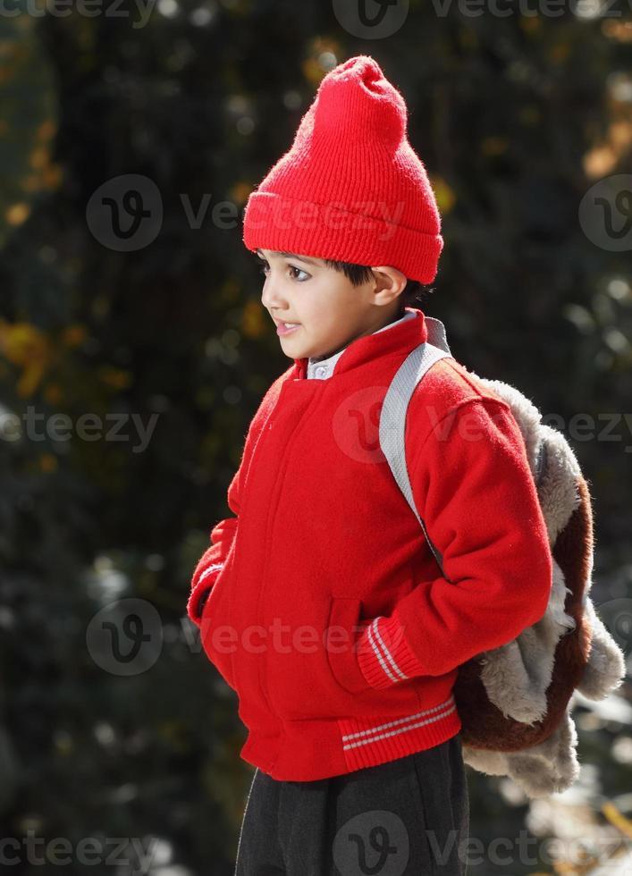 Outdoor Portrait of Little Schoolboy photo