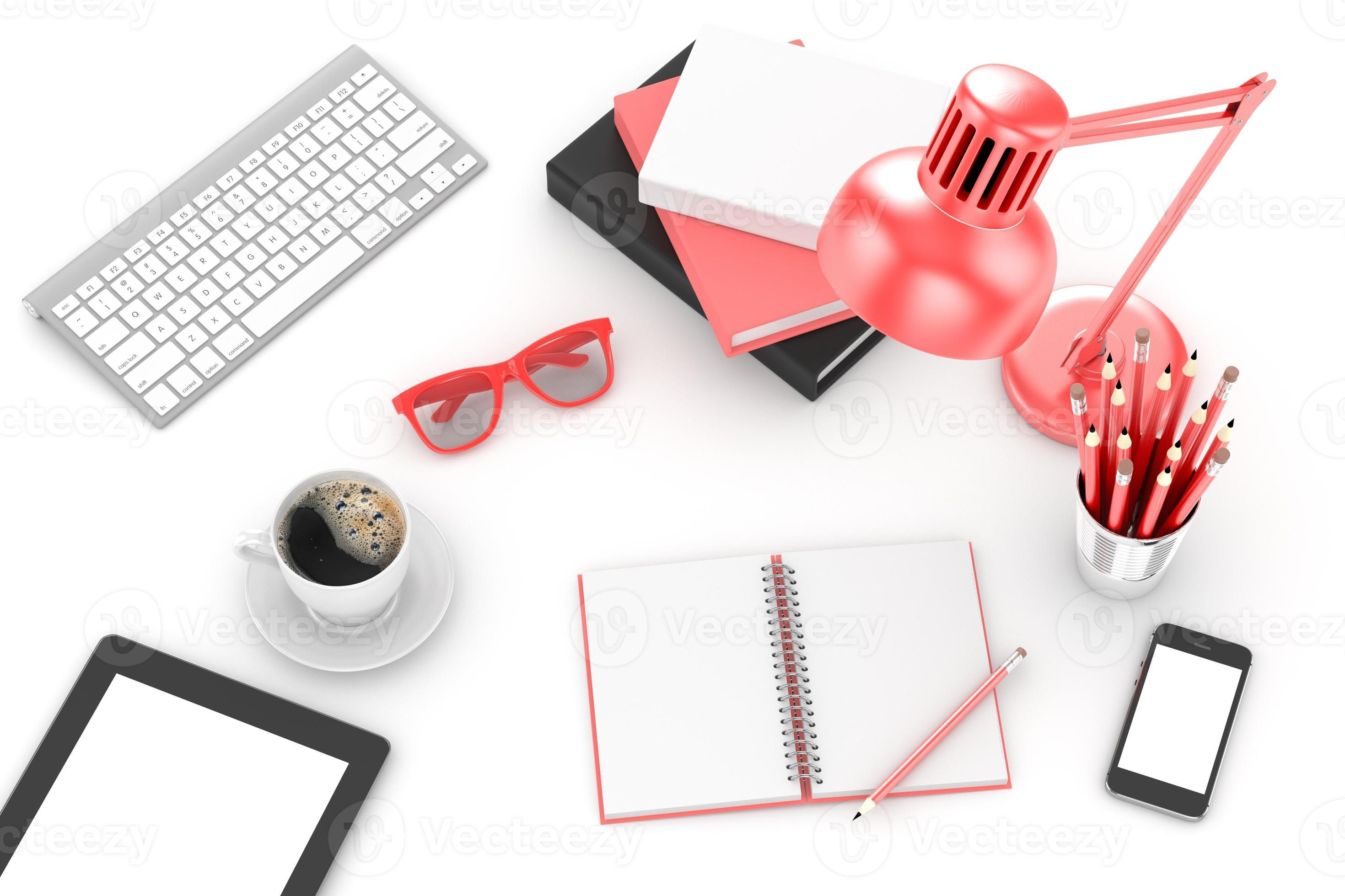 office stuff on table workplace top view photo - Disinfecting Gadgets You Don't Know You Need!