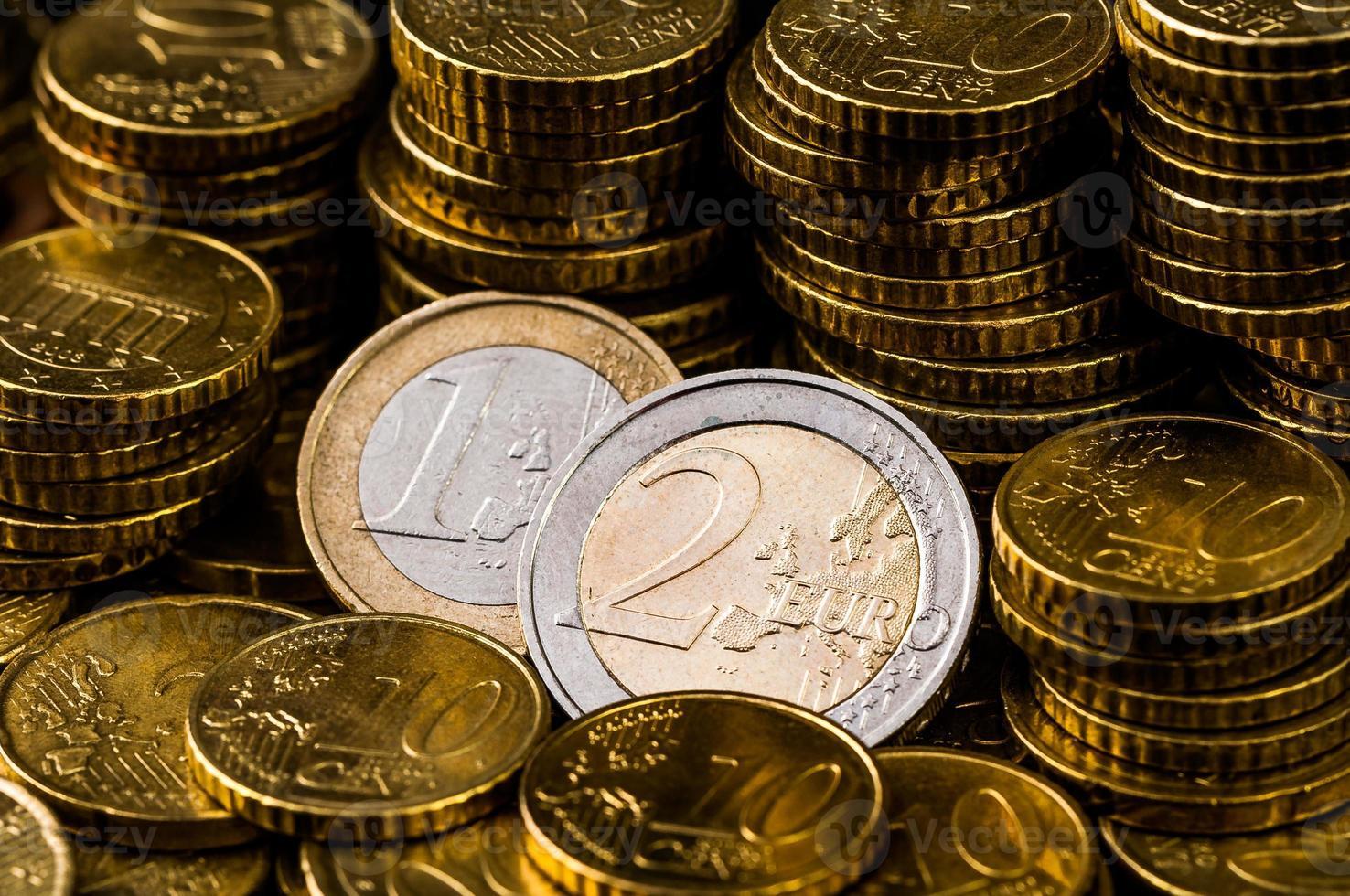 two Euro Coin closeup finance concept photo