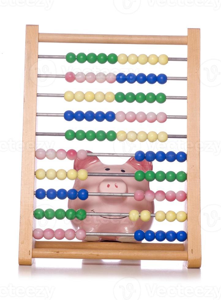 calculating finances piggy bank photo