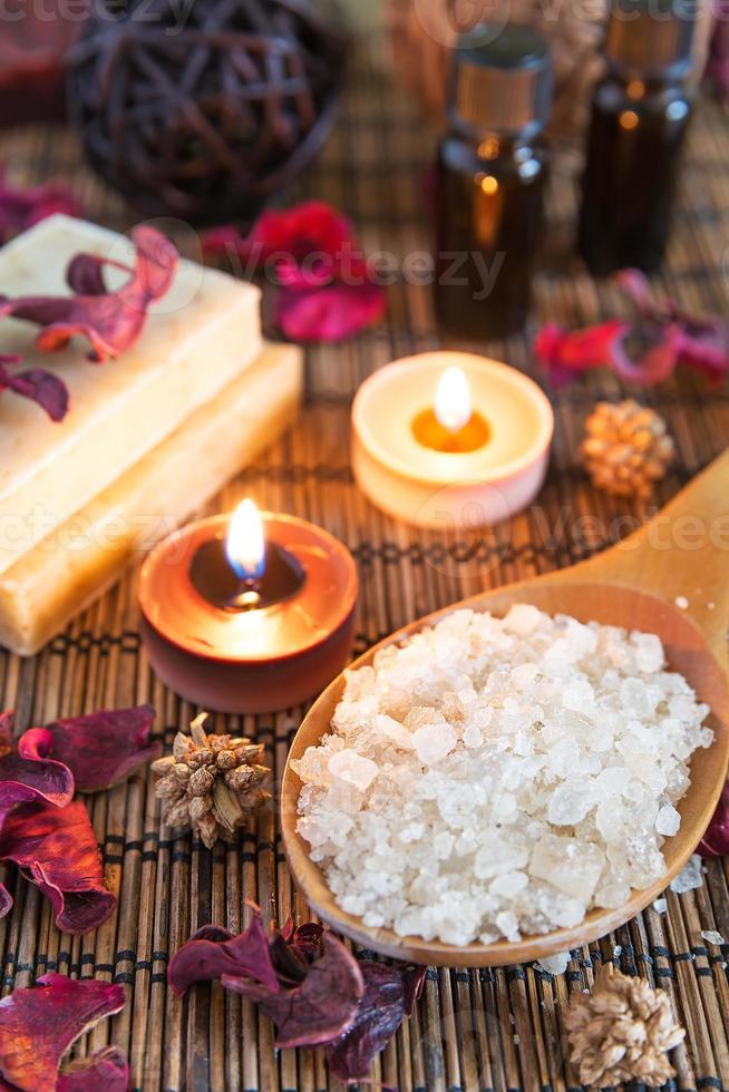 Spa with natural bath salt photo