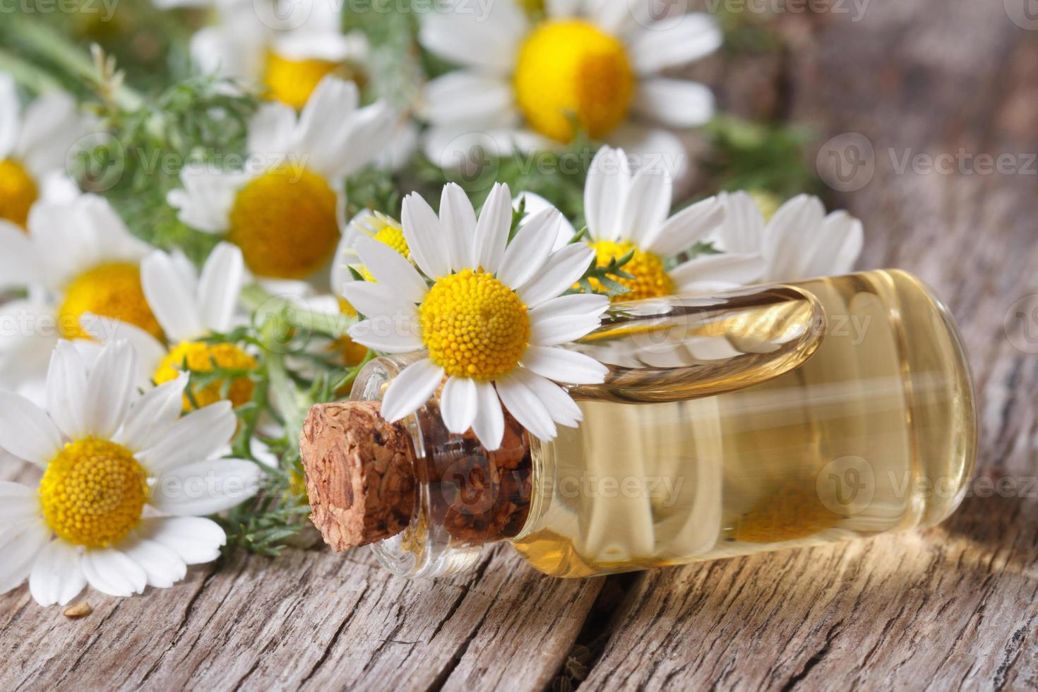 oil in a glass bottle on the background of camomile photo