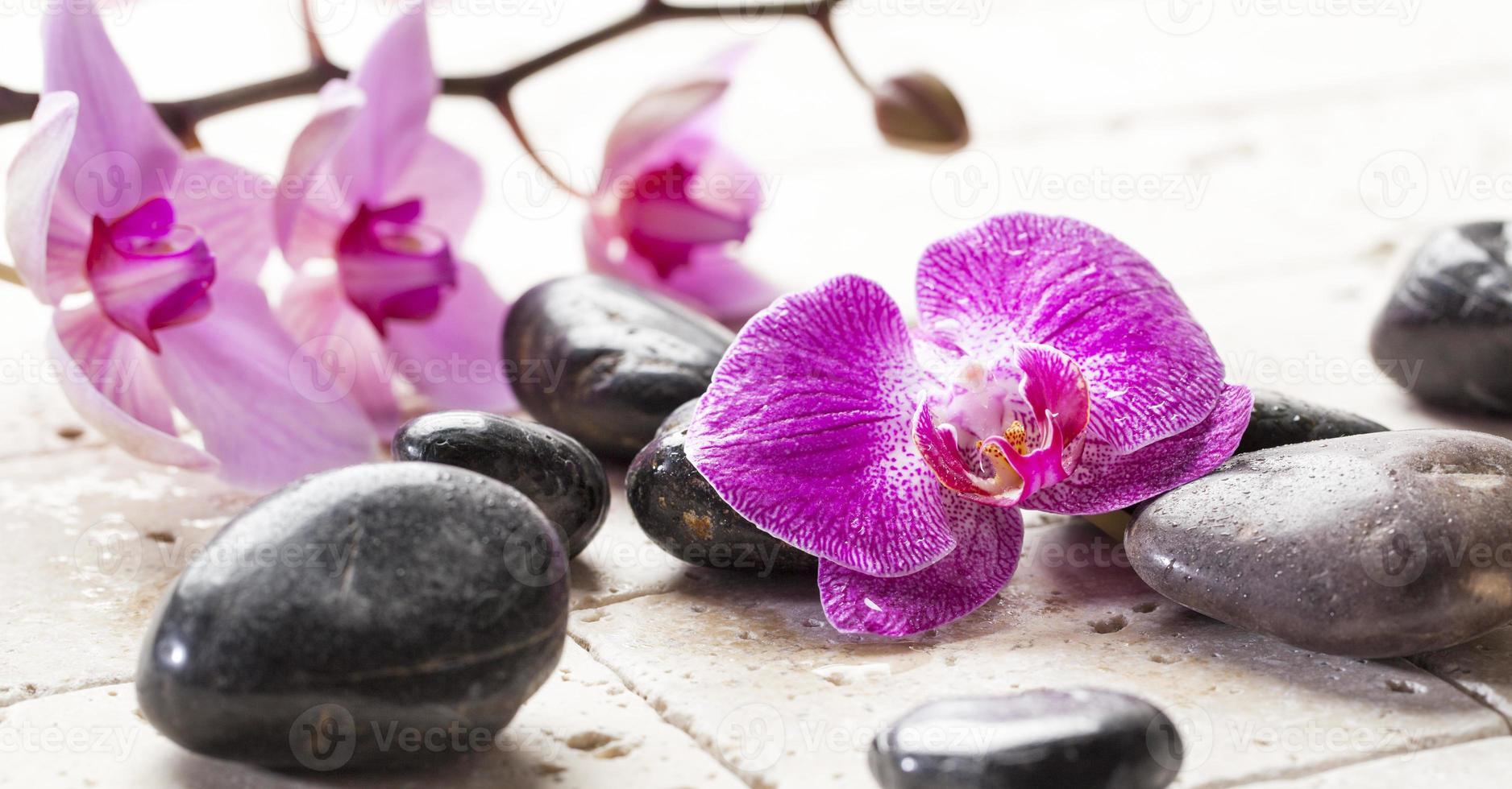 feminidad zen con flores de orquídeas y piedras de masaje foto