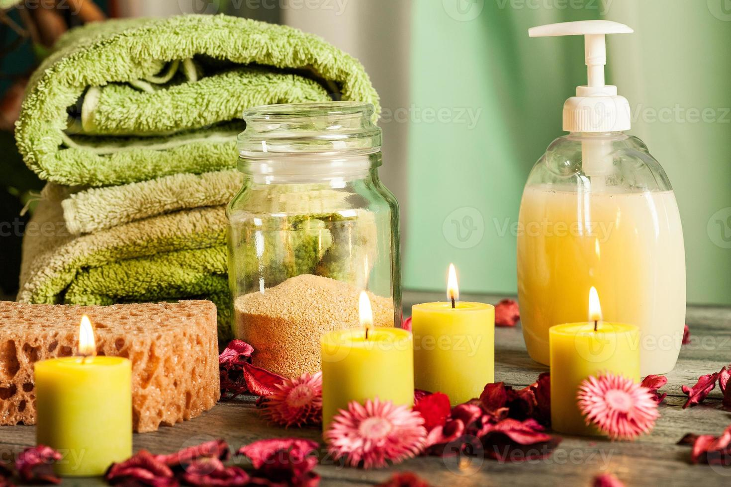 SPA still life: aromatherapy candle and other photo
