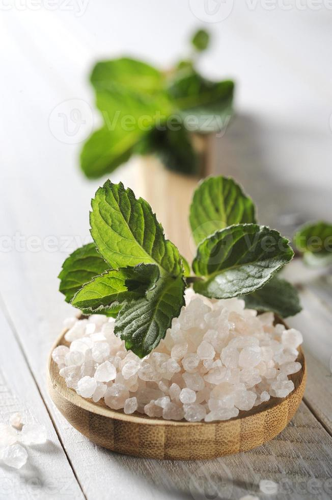 sea salt with mint photo