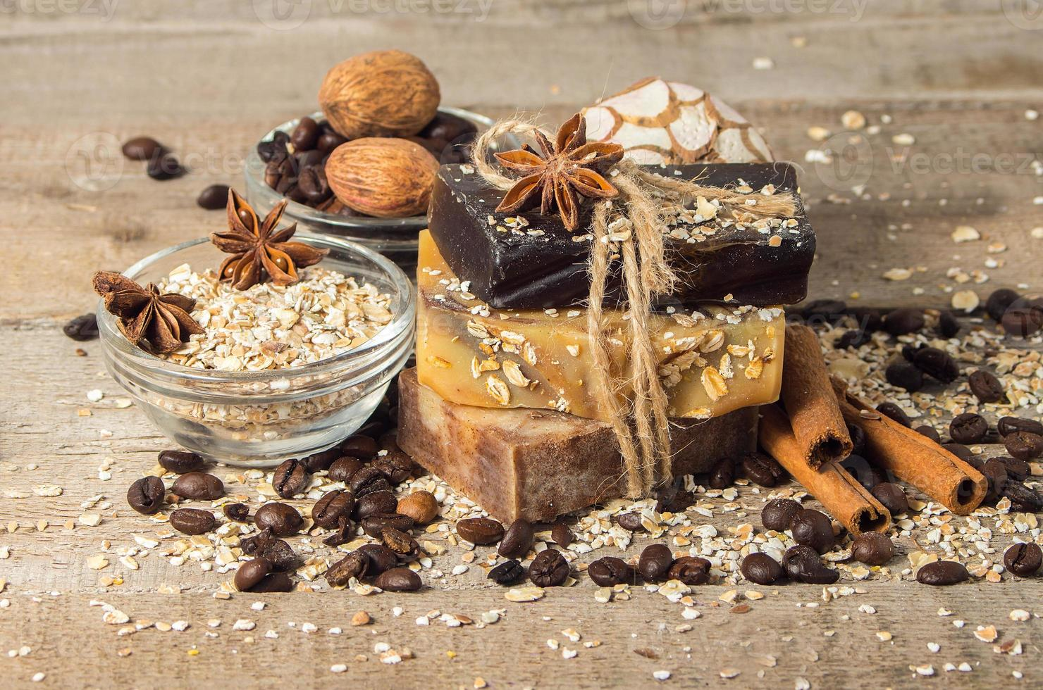 Handmade soap with coffee beans and spices photo