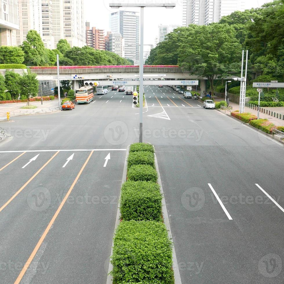 Japan Tokyo Shinjuku car road and buildings photo