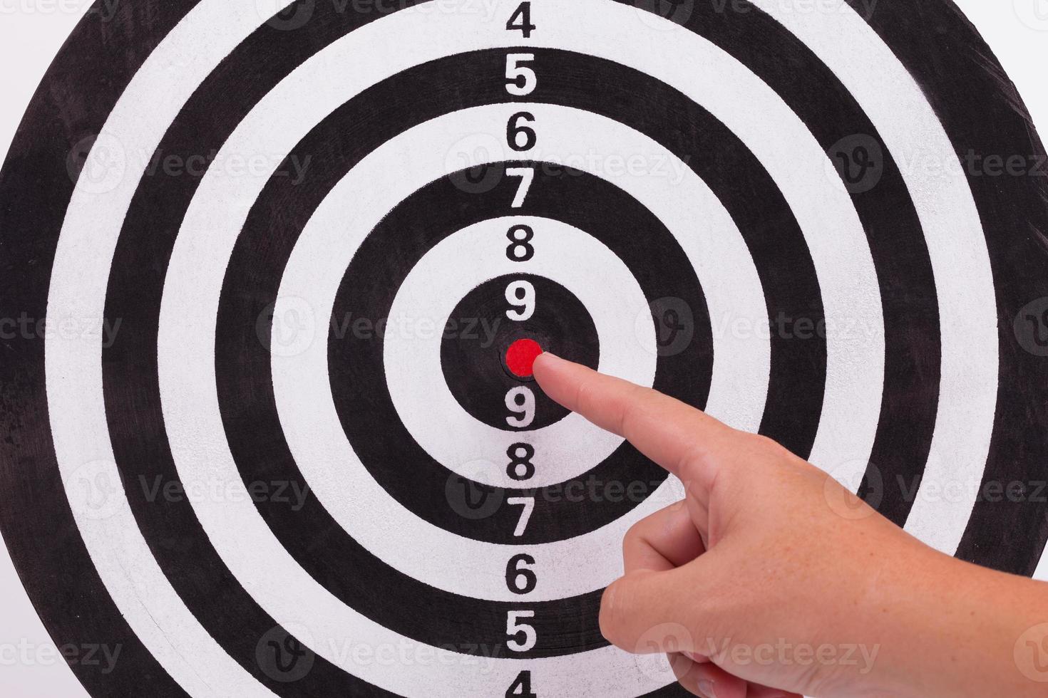 Hand point to bulls eye target photo