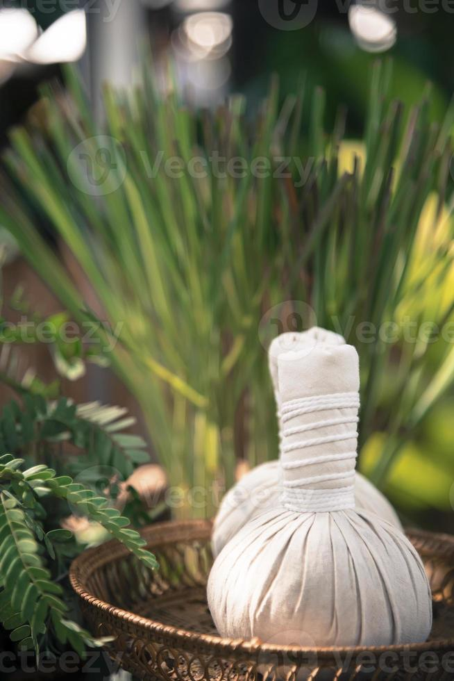 Thai Herbal Ball Hot Compress massage  add color retro style photo