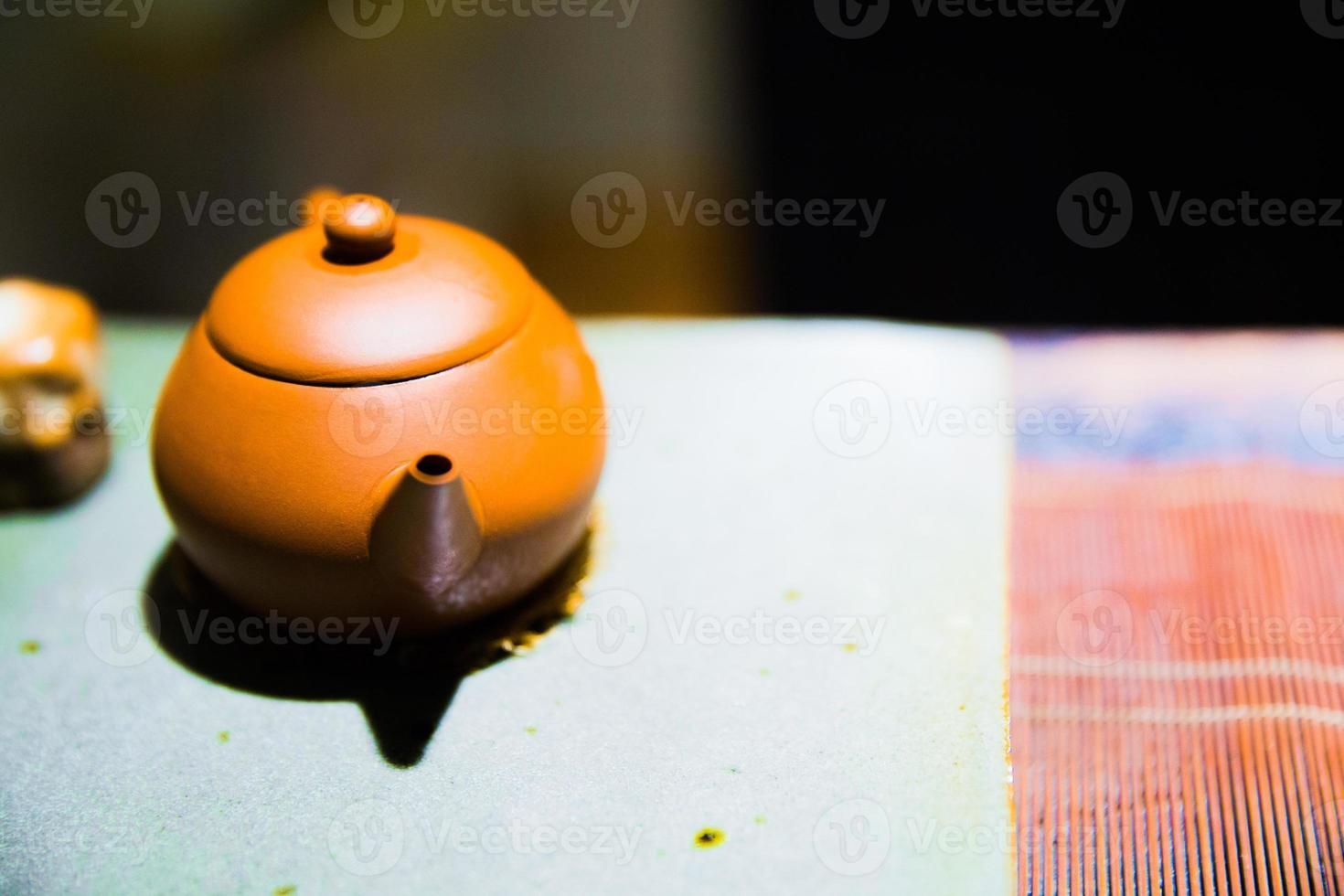 el juego de té chino tradicional foto