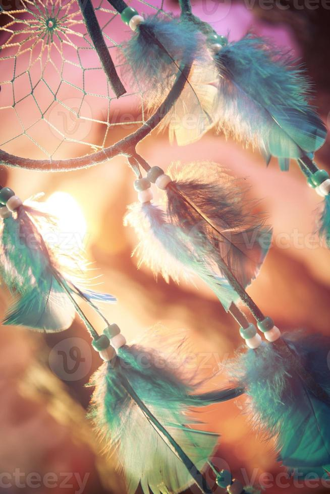 dreamcatcher on a forest at sunset photo