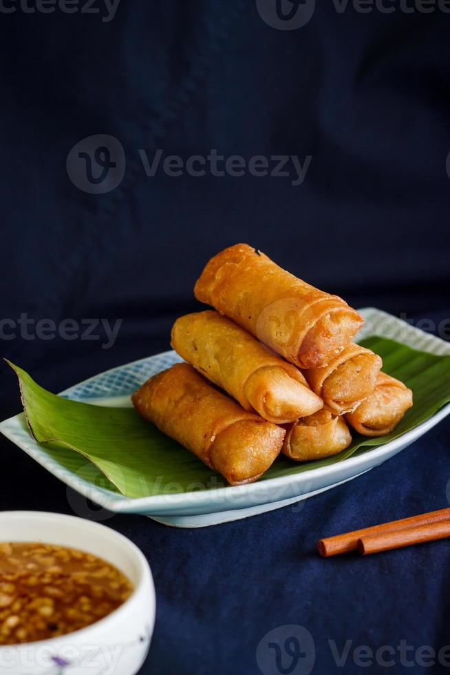 Chinese spring rolls with vegetable photo