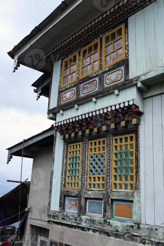 Paintings on Buddhist monastery at Sikkim,  May 2009, India photo