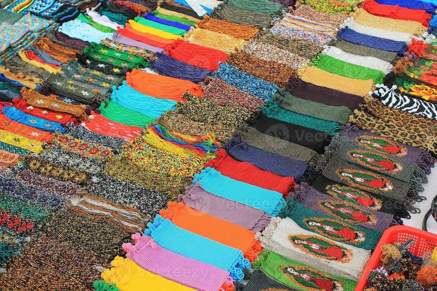 Beadwork for sale at a market in Mexico photo