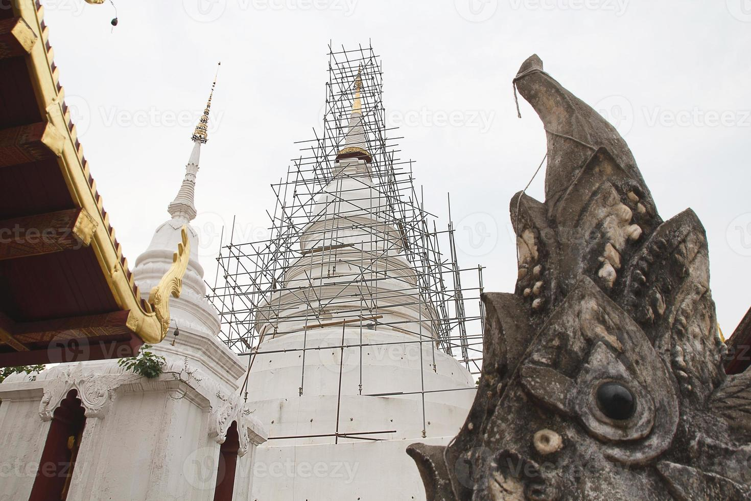 white pagoda in temple photo