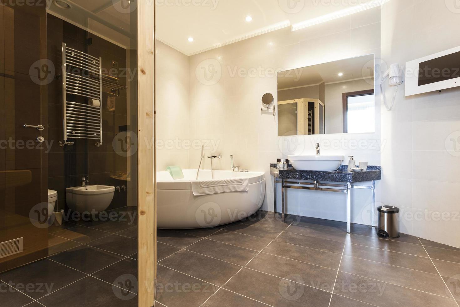 interior de un baño amplio y moderno foto