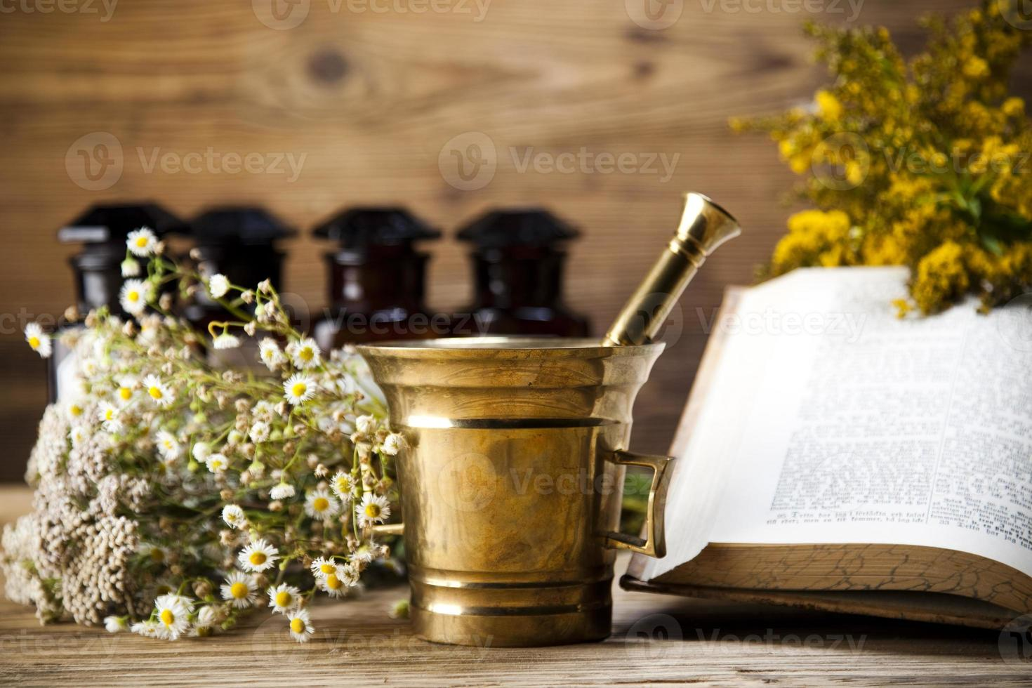 Herbal medicine and book photo