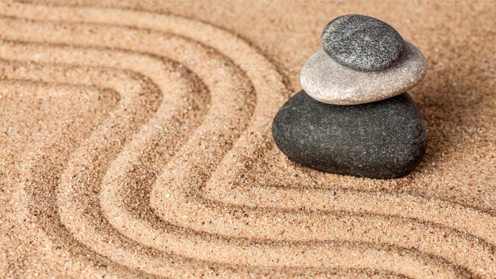Japanese Zen stone garden photo