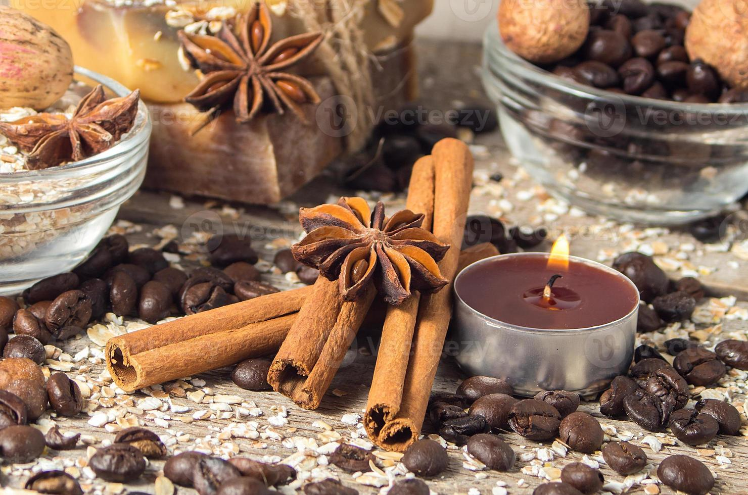 Spa still life with cinnamon and coffee beans.Soft focus. photo