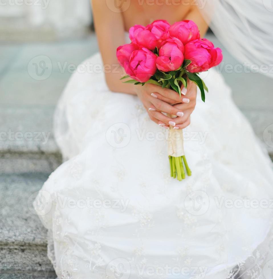 Caucasian bride on wedding day. photo