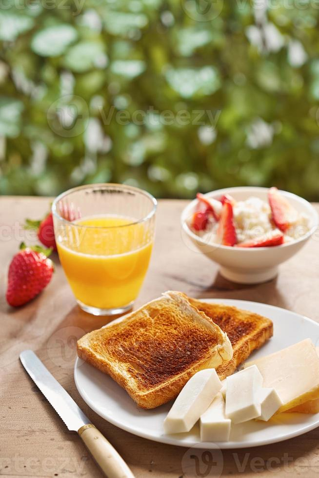 Bread toasts for breakfast photo