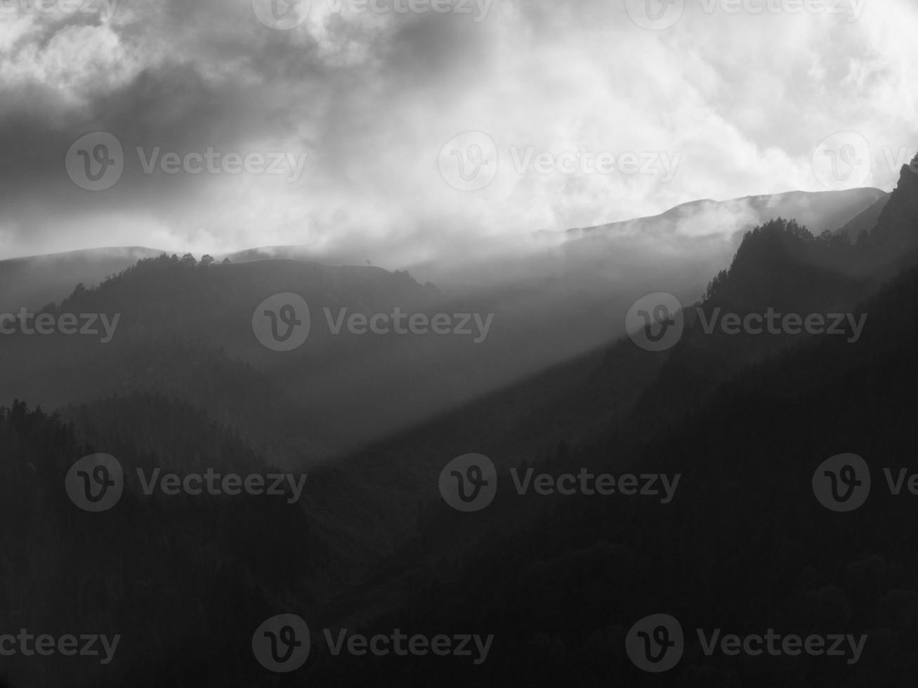 Monochrome image of the North Caucasian mountain ridge photo
