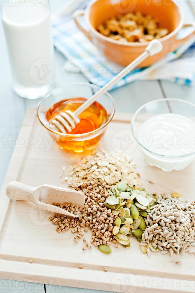 Fitness breakfast with healthy muesli and seeds photo